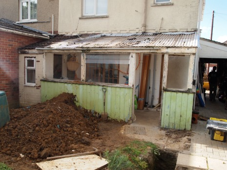 New build single storey extension - before