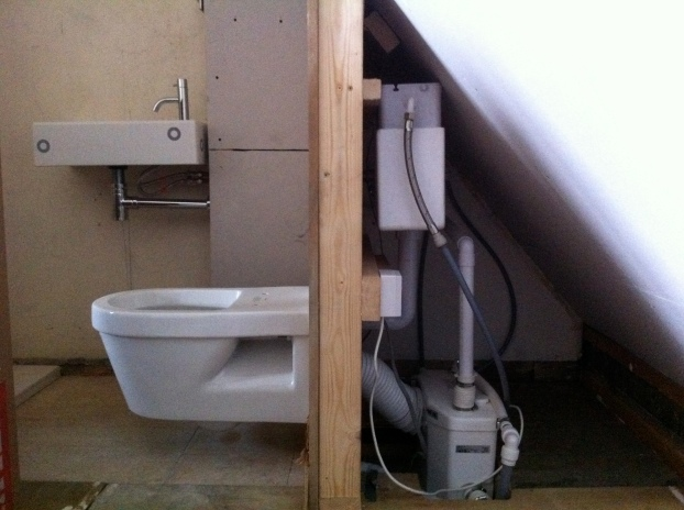 Installation of bathroom in loft space including saniflow
