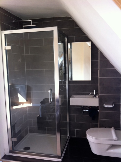 Installation of bathroom in loft space & tiling