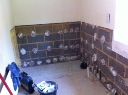 Walk in shower & tiling - before
