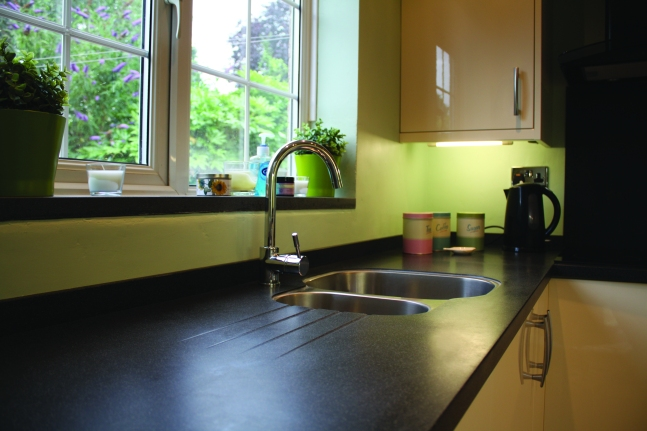 Solid sufrace worktops fitted including undercounter sink & draining board grooves